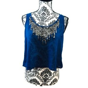 Material Girl Blue Sheer Top with Sequins Size M